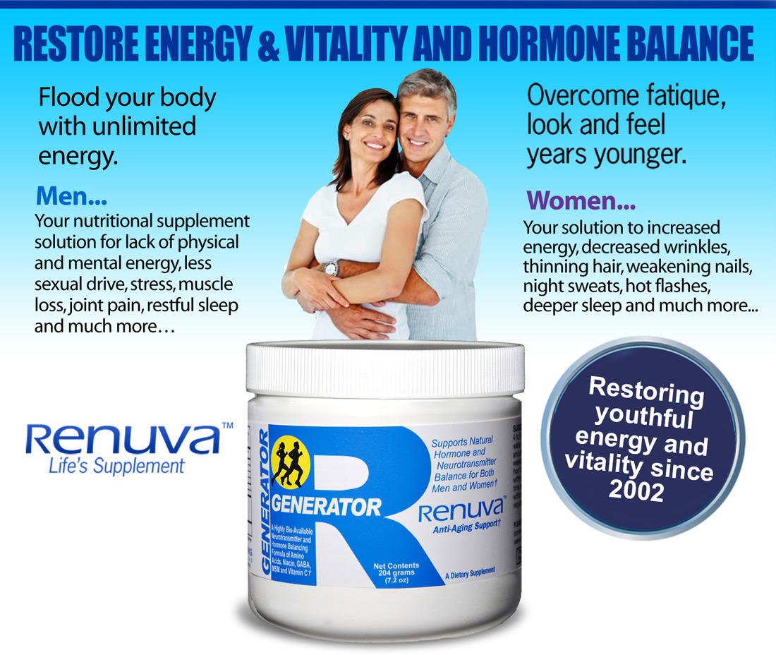 Restore Energy and Vitality and Hormone Balance. Increase physical and mental energy, sex drive, libido. Deeper restful sleep. Relief from muscle and joint pain, night sweats, hot flashes. Thinning hair, Softer less wrinkled skin.